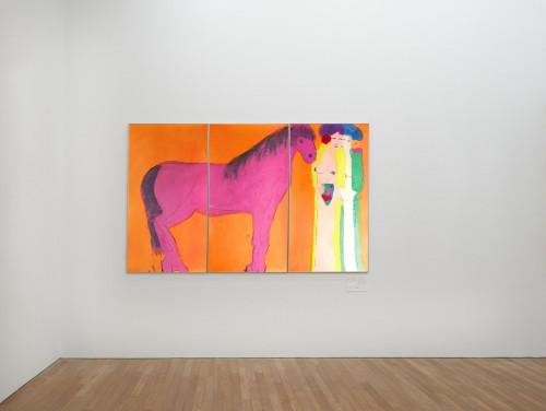 丁雄泉,《兩位東方美女與紫色馬》,1980年代。